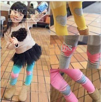 Wholesale Girls Leggings amp Tights cotton pure colors Children s leggings Love Heart patch baby tights sdfs
