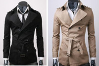 Wholesale MENS CASUAL DOUBLE BREASTED TRENCH COAT SLIM FIT SZ XS S M L