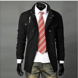 Wholesale New Fashion Korean Men s Luxury Style Slim Casual Double Button Coat Outerwear D1526