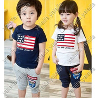 Wholesale 5sets cute cotton baby boy s girl s clothes set short sleeve t shirt short pants