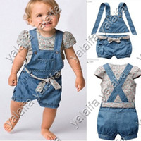 Girl 9M-4T 80-90-100 5sets lot baby clothing set(flower t shirt+jeans+strap top+belt) baby suits summer clothes