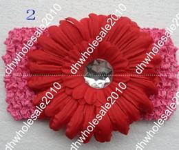 Wholesale 120pcs quot Flower Hair Clips Gerber Flower Hair Bow Clip Crochet Headband B4rflf