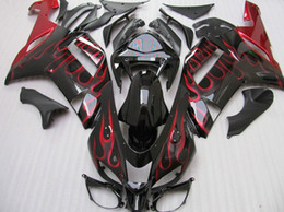Red flame body for 2007 2008 KAWASAKI Ninja ZX6R ZX-6R 636 ninja 07-08 zx 6r 07 08 Full fairing kit