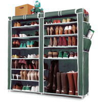 Double Row Shoe Cabinet 12- Layer with Metal Tube