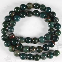Wholesale 5 COOL GREEN BLOODSTONE GEMSTONE ROUND LOOSE BEAD MM piece ONE STRAND inch