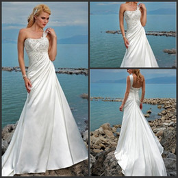 Wholesale 2012 Elegant One shoulder Applique Soft Satin A Line Summer Beach Wedding Dresses