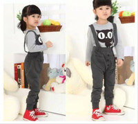 Wholesale Children Clothing Boy Girl Kids Clothing Set suit Long sleeve Tshirt straps pants Sets Kid Wears