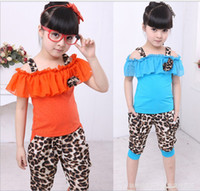 Wholesale Girls clothes Baby Kids clothing Leopard grain Fashion Baby Clothes Kids Children s Short sleeve set