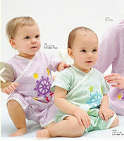 Wholesale Children cute boys and girls short sleeve anchor pattern kimono short sleeve Romper dandys