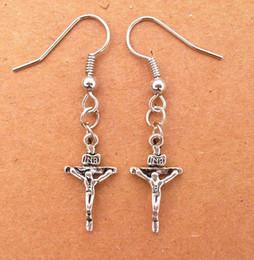 Mix order Vintage Tibetan Silver Small Skull Cross Jesus Ax Pendant Earrings Novelty Fashion 40pair