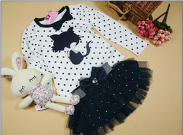 Wholesale Children s suits girls kitty long sleeved t shirt beautiful veil baby Pieces Set
