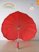 Wholesale Red heart love Umbrella wedding irregular shape long handle