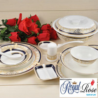 Wholesale Top class fine bone china dinner set Golden Vienna orginal from Tangshan Longda Chinese style