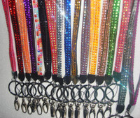 Wholesale 50pcs Bling Lanyard Colorful Crystal Rhinestone Neck Strap for ID Card Cell Mobile Phone Badge