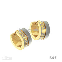 Wholesale Titanium Steel fashion earring COOL MEN JEWELRY MM K gold plated color gold and white ED207