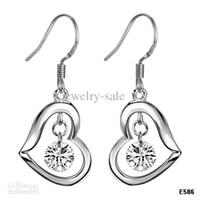 Wholesale 925 STERLING SILVER EARRINGS heart shape RHINESTONE DIAMOND LOOPING EARRINGS SILVER JEWELRY