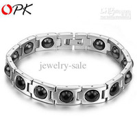 Wholesale BRAND SHIPPING STAINLESS STEEL BRACELET JEWELRY HEALTH CARE MAGNETIC MM white BANGLE PC