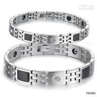 Wholesale 10 off stainless steel bracelet jewelry crystal CZ fiber health care magnet couple bangle TS3383