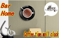 Wholesale Novelty New Arrival coffee time Wall Clock Colors Gift Home bar Decoration Freeshipping