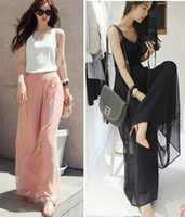 Wholesale Fashion Women Wide Leg Loose Pants Beach Trousers Long Casual Chiffon Spring Summer Pink Black S M L