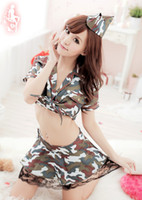 Spandex camouflage lingerie - Factory outlets Sexy Set Sexy Lingerie Uniform nightclub DS dance female soldiers in camouflage clothing A policewoman Camouflage