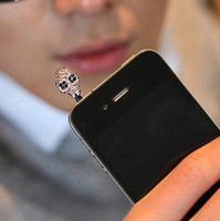 iphone4s cell phone - Hot Bling Diamond skull Earphone mm Jack Dustproof Plug For iphone4s Cell Phone Anti Dust Plugs