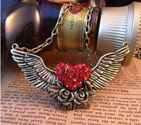 angels diamonds wing - Vintage Angel wings necklace with red diamond crystal jewelry JD8