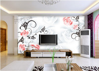 Wholesale Wallpaper TV wall background TV setting wall paper contracted romantic rose