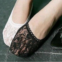 Wholesale hot sell lowest price summer fashion lovely women girl lace ship socks invisible stockings promotion