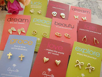 Wholesale make a wish Earrings Dream love faith Studs cheap hot fashion jewelry Wihing Earring Stud