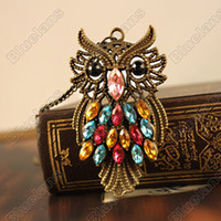 Wholesale Design Hot Retro Style Chromatic Owl Pendant Necklace E4086