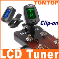 Wholesale Black LCD backlight Clip on Guitar Tuner Electronic Digital Chromatic Bass Violin Ukulele tuner I100