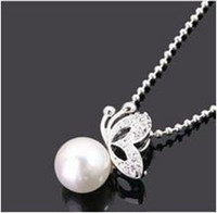 Pendant Necklaces beautiful pearl necklaces - Fashion Simulated pearl w Beautiful Butterfly Pedant Necklace N0187