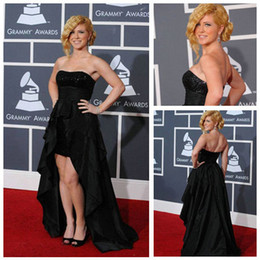 Wholesale Dashing Short In Front Long In Back Taffeta Black Celebrity Dress Evening Gowns