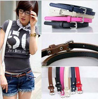 Wholesale Lady Steel Buckle Fashion Twist Weave Thin Belts PU Waist Chain Leather Belt