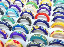 lots 100pcs flower prints FIMO polymer clay finger rings band NEW