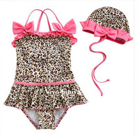 Wholesale Kids Swimwears girls onepiece swimming suit caps two piece swimwear children bathing suit ls zsz