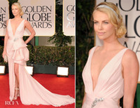 Wholesale Cheap Theron Sexy Deep V neck Chiffon Evening Dress The th Golden Globes Awards Red Carpet High Front Slit
