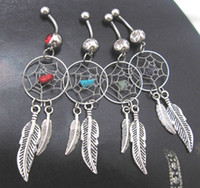 Wholesale 2012 new arrival DREAMCATCHER Belly ring with the natural stone colors