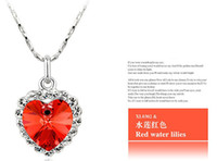 Wholesale Fashion jewelry gemstone necklace pendants silver chain heart of the sea Charming Crystal Necklace