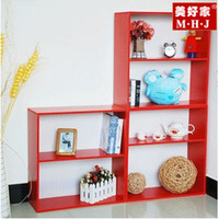 Two- Tier Adjustable Bookcase Shelf- Red