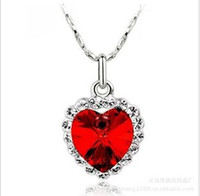 Wholesale Fashion jewelry gemstone necklace silver chain bule heart of the sea Charming Crystal Necklace