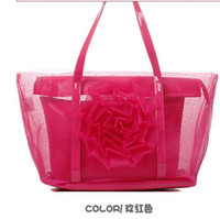 Wholesale 2012 new transparent bag beach bag stereo rose net big beautiful bag female bag in the summer