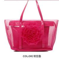 Wholesale 2012 new transparent bag beach bag stereo rose net big beautiful bag female bag in the summer