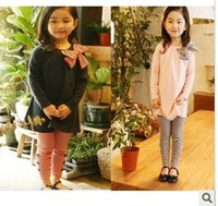 2T-3T Girl Spring / Autumn Korean spring and autumn Girl's Clothing grils suit Children's Outfits Bow sweater +stripe leggings