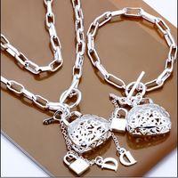 bags copper sets - Factory price hot new silver bag pendant necklace bracelet charm jewelry set set