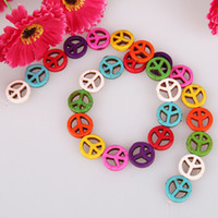 Wholesale 5 Strands quot L Colorful Howlite Turquoise Gemstone Round Peace Sign Loose Beads x15x4mm