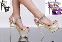 Wholesale NEWEST women comfortable Hollow waterproof crystal wedding nightclub ultra high heels shoes in box