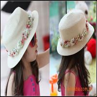 Wholesale 70pcs Beach Hat Kids Straw Sun Hat with flower sun hats for kids sun beach hats colour MZ4