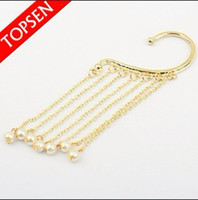 clip on charms - NEW Charms Long Tassel Punk Pearl Fake Clip On Earrings Ear Chain Cuff